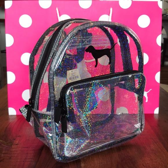 03f223a6e963 ✨NEW✨ VS PINK Clear Glitter Mini Backpack